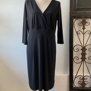 Clara Sun Woo 3/4 Sleeve Little Black Dress V-Neck